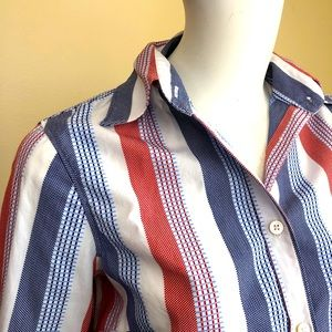J. McLaughlin button down stripe 3/4 sleeve shirt